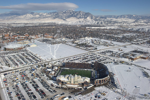 Aerial photo of Montana State University football stadium on Cat-Griz game day. Aerial Photography by Jim R Harris Bozeman Montana photographer.